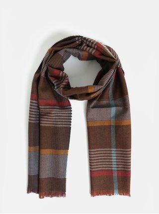 Esarfa maro din lana cu model  Hackett London