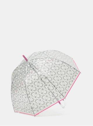 Transparentní vystřelovací deštník s růžovým lemem Rainy Seasons