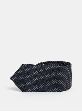 Cravata slim gri-albastru cu model Selected Homme Vilhelm