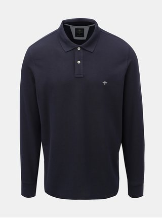 Tmavomodré polo tričko s dlhým rukávom Fynch-Hatton