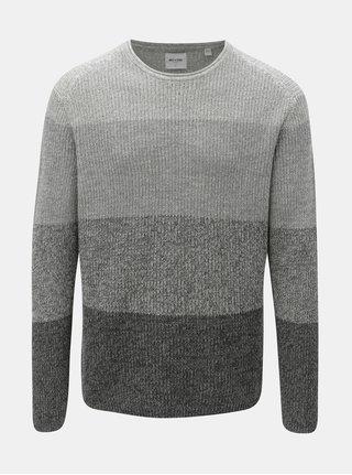 Sivý melírovaný sveter s pruhmi ONLY & SONS Sato