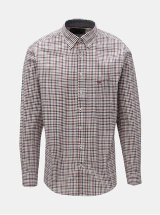 Krémovo-vínová vzorovaná casual fit košeľa Fynch-Hatton