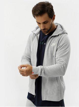 Světle šedá pánská mikina na zip Nike Legacy