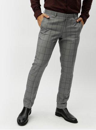 Sivé skinny fit kockované nohavice Burton Menswear London