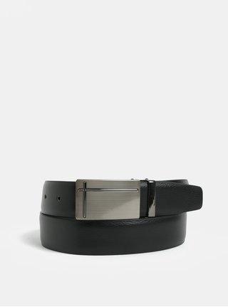 Čierny kožený opasok s pracou v striebornej farbe Dice Orleans