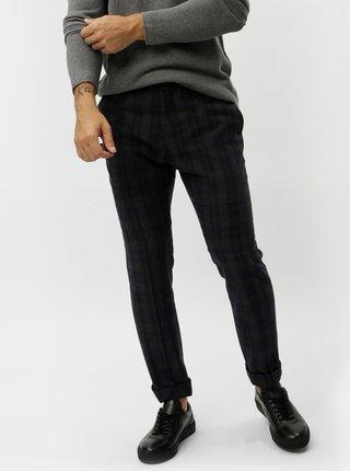 Tmavomodré vlnené kockované oblekové nohavice Selected Homme