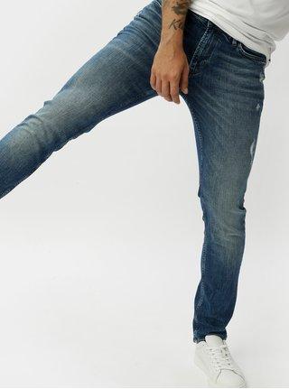 Modré skinny džíny s potrhaným efektem JUNK de LUXE