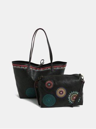 Geanta shopper neagra reversibila cu portofel Desigual Siara
