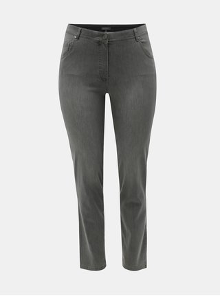 Blugi gri slim fit din denim Ulla Popken