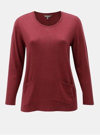 Vínový tenký sveter s vreckami Ulla Popken