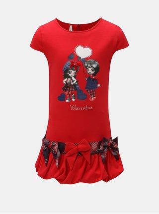 Červené šaty s potlačou a mašľou North Pole Kids