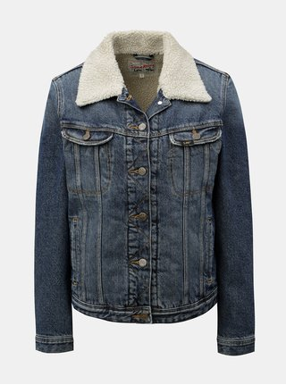 Jacheta de dama albastra melanj din denim cu blana artificiala Lee