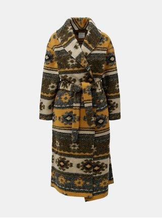 Krémovo-oranžový vzorovaný vlněný kabát s páskem kabát Yerse
