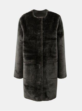 Šedý matalický oboustranný kabát s umělou kožešinou Yerse