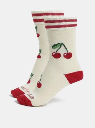 Krémové unisex vzorované ponožky Fusakle Čerešne