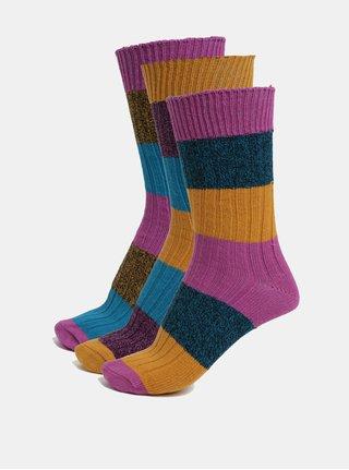 Súprava troch unisex pruhovaných ponožiek v oranžovo-modrej farbe Oddsocks Danny