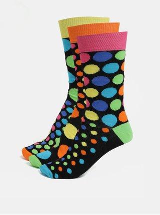 Súprava troch unisex vzorovaných ponožiek v čiernej farbe Oddsocks Jack