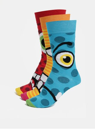Súprava troch unisex vzorovaných ponožiek v modrej, žltej a červenej farbe Oddsocks Jason