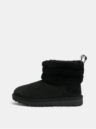 Cizme de iarna negre scurte impermeabile din piele intoarsa UGG Classic Mini Fluff