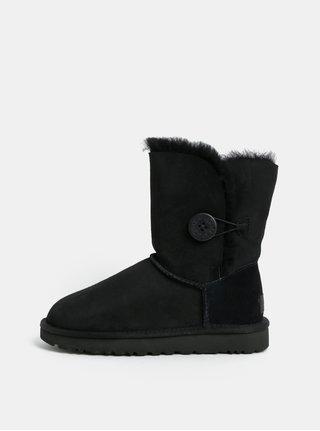 Cizme de iarna negre scurte impermeabile din piele intoarsa UGG Button II