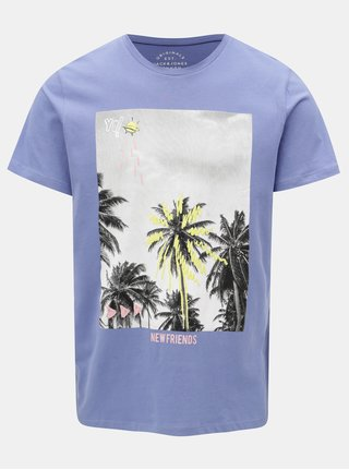 Svetlomodré regular tričko s potlačou Jack & Jones Rail Road