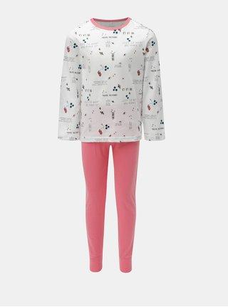 Ružovo-biele dievčenské dvojdielne pyžamo Name it Bublegum