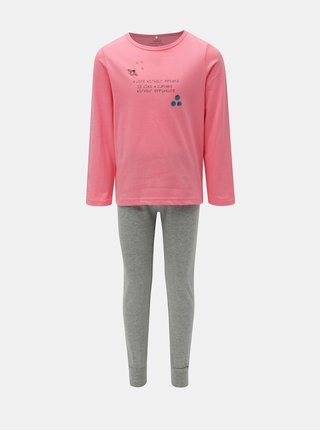 Sivo–ružové dievčenské dvojdielne pyžamo Name it Bublegum