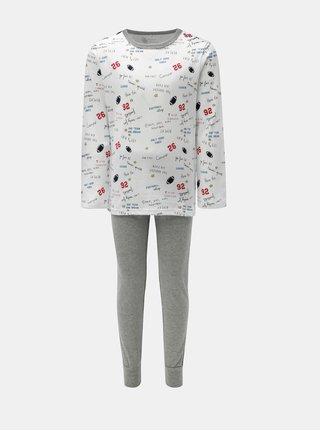 Sivo–biele chlapčenské dvojdielne pyžamo Name it