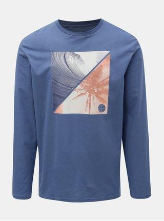 Modré pánské regular fit tričko s dlouhým rukávem a potiskem Quiksilver