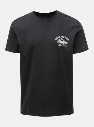 Čierne pánske regular fit tričko s potlačou na chrbte Quiksilver