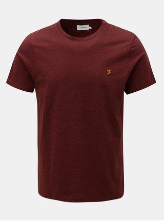 Vínové žíhané basic tričko Farah Denny Slim