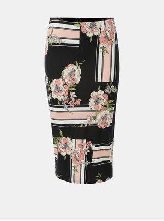 Fusta mulata roz-negru cu print floral Dorothy Perkins