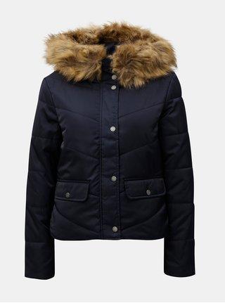 Tmavě modrá zimní prošívaná bunda s umělým kožíškem Noisy May