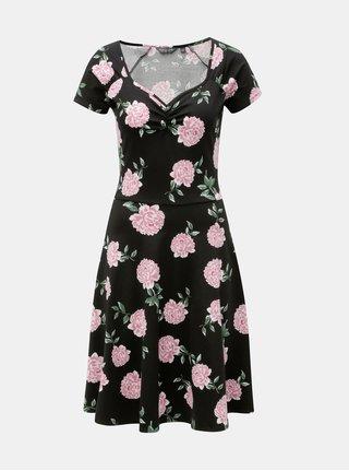 Černé květované šaty s krátkým rukávem Dorothy Perkins Tall