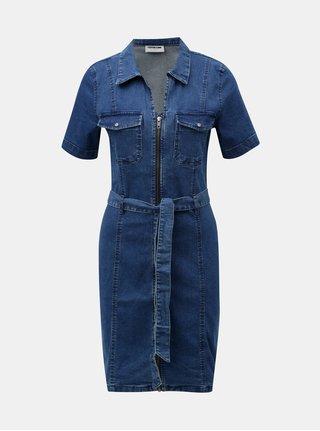 Modré rifľové šaty Noisy May