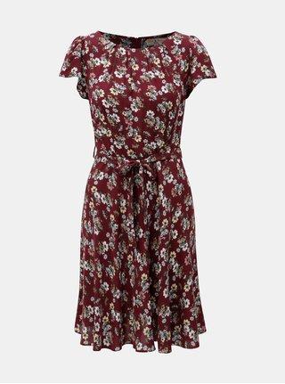 Vínové květované šaty se zavazováním Billie & Blossom