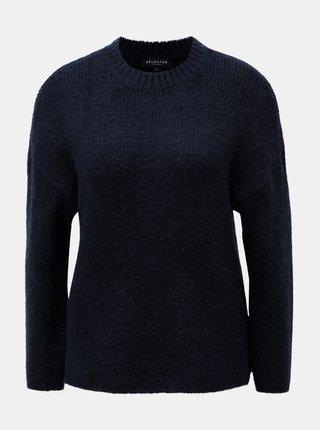 Modrý sveter s prímesou vlny a alpaky Selected Femme Regina