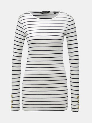 Černo-bílé pruhované tričko s knoflíky na rukávech Dorothy Perkins Tall