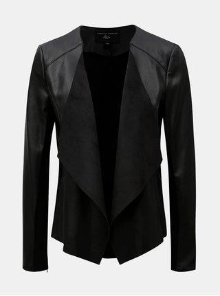 Čierna koženková bunda s chlopňami Dorothy Perkins