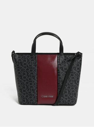 Vínovo-červená kabelka s potlačou Calvin Klein Jeans