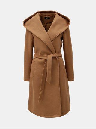 Svetlohnedý kabát s kapucňou a zaväzovaním ONLY Riley