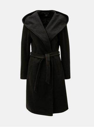 Černý kabát s kapucí a zavazováním ONLY Riley
