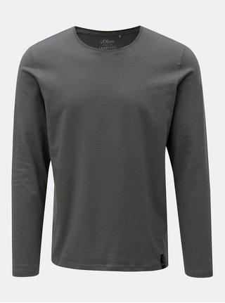 Sivé pánske slim fit tričko s okrúhlym výstrihom s.Oliver
