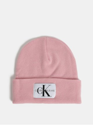 Ružová dámska čiapka s prímesou vlny a kašmíru Calvin Klein Jeans
