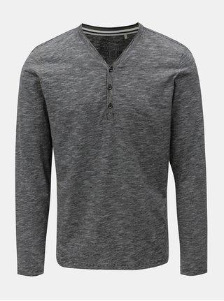 Bielo-čierne pánske melírované slim fit tričko s.Oliver