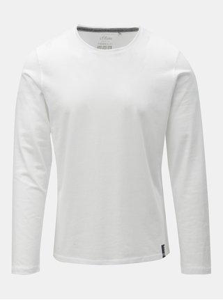 Biele pánske slim fit tričko s dlhým rukávom s.Oliver