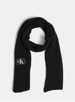 Čierny šál s prímesou vlny a kašmíru Calvin Klein Jeans