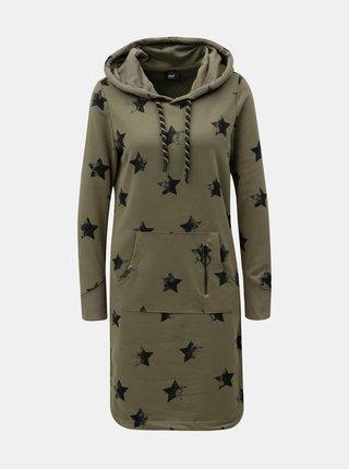 Khaki mikinové šaty s motivem hvězd ONLY Awesome