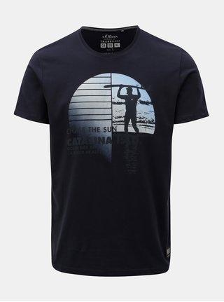 Tmavomodré pánske regular fit tričko s.Oliver
