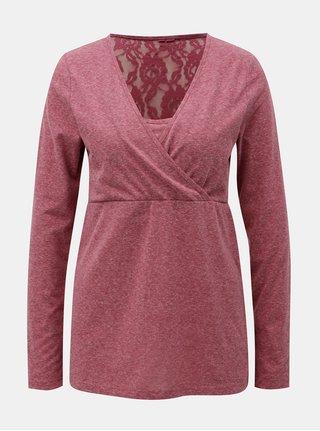 Vínové melírované tričko na kojenie Mama.licious